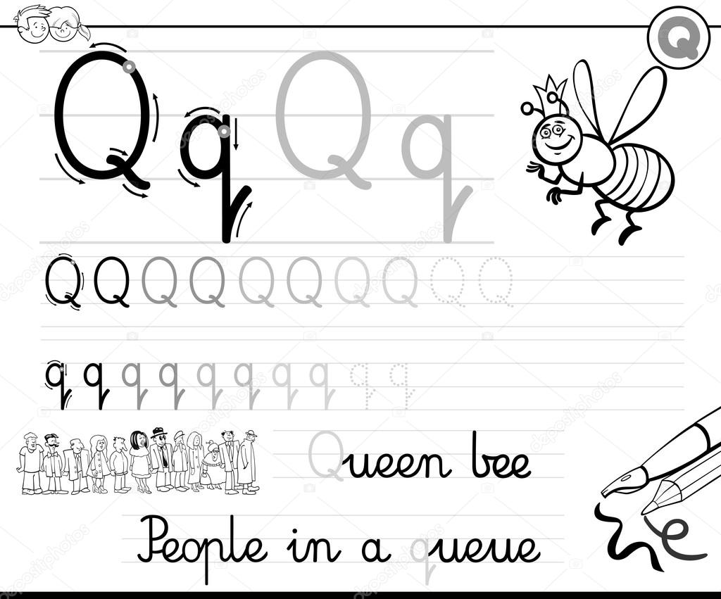 Buchstaben q schreiben lernen — Stockvektor © izakowski #115880296