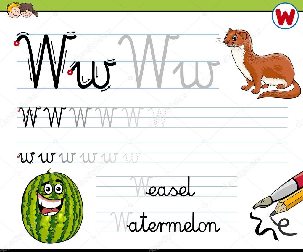 Gewusst wie: Schreiben von Buchstaben w — Stockvektor © izakowski ...