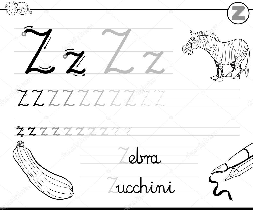 Buchstabe z schreiben lernen — Stockvektor © izakowski #116082846