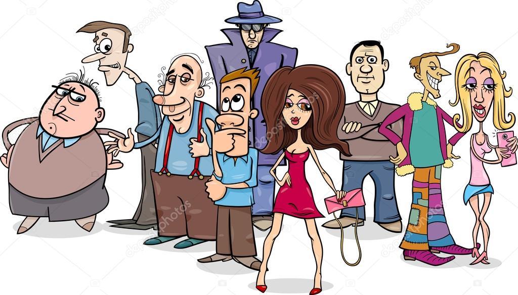 Dibujo Animado Del Grupo De La Gente