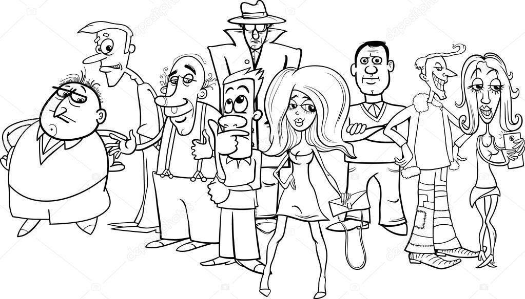 dibujos animados de blanco y negro de multitud de personas — Vector ...