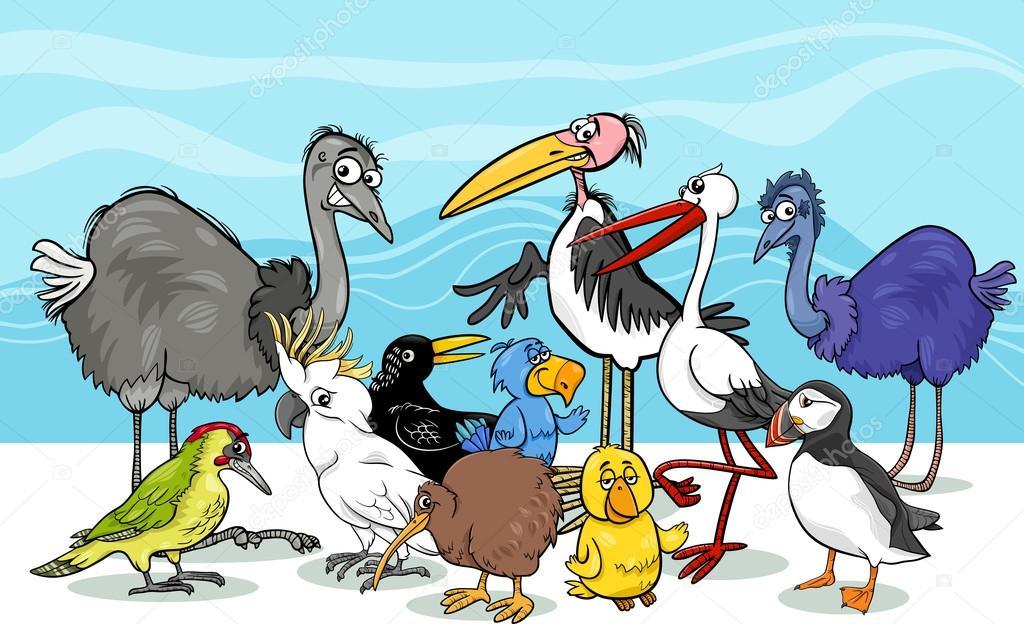 Ilustração De Desenhos Animados De Grupo De Aves