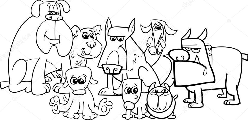 Grupo de perros para colorear libro — Archivo Imágenes Vectoriales ...