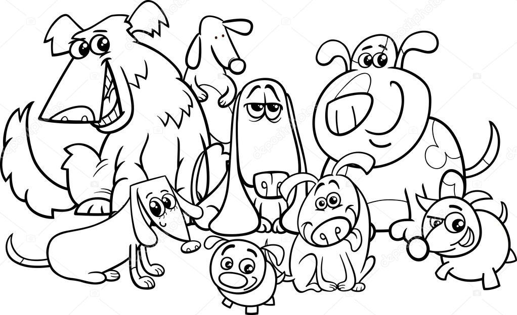 Grupo de perros para colorear libro de dibujos animados — Vector de ...