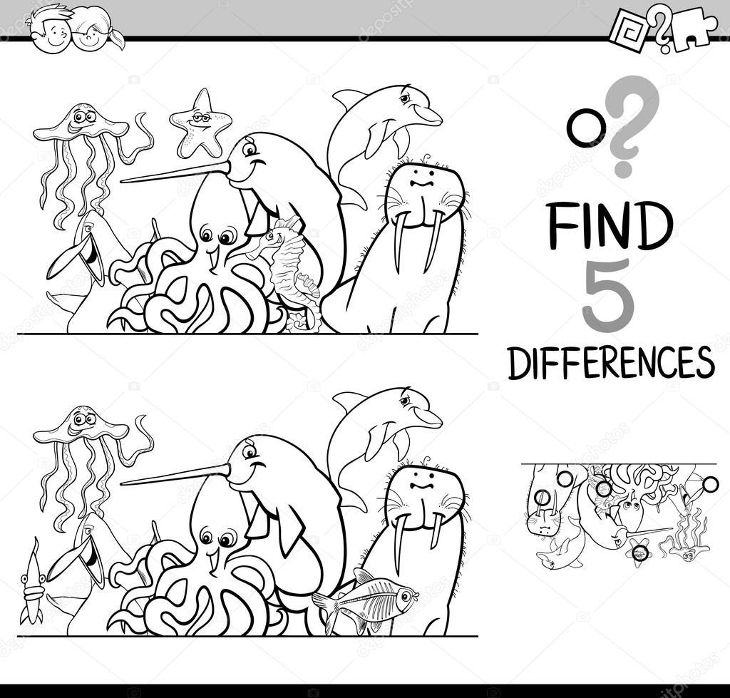 Farklılıkları Etkinlik Boyama Kitabı Stok Vektör Izakowski