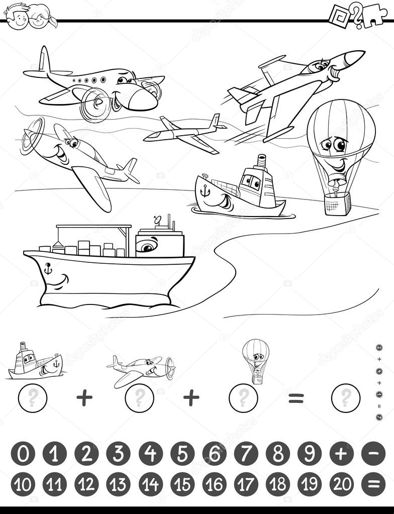 tarea de matemáticas para colorear — Archivo Imágenes Vectoriales ...