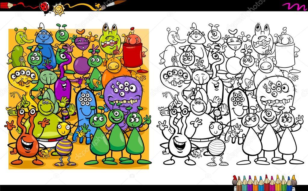 alienígenas personajes libro para colorear — Vector de stock ...