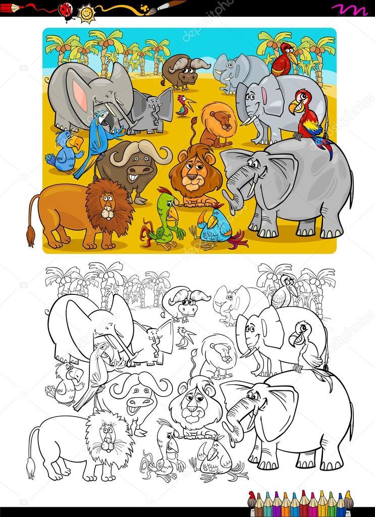 animales de Safari para colorear libro — Vector de stock © izakowski ...