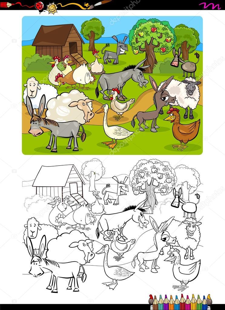 - Farm Animals Coloring Book — Stock Vector © Izakowski #119238420