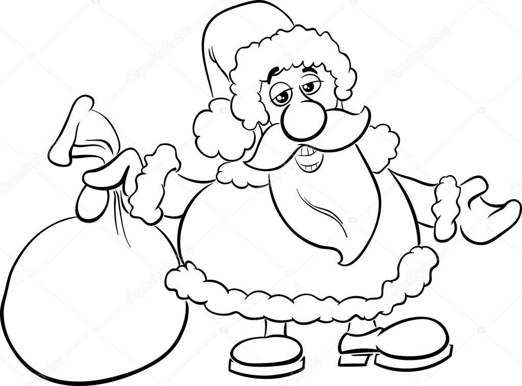 Santa con saco libro para colorear — Archivo Imágenes Vectoriales ...
