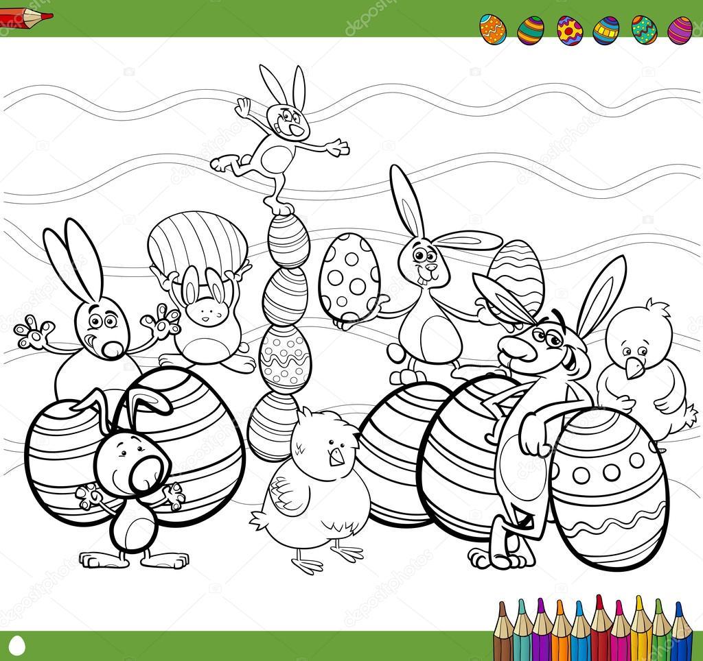 personajes de Pascua para colorear libro — Vector de stock ...