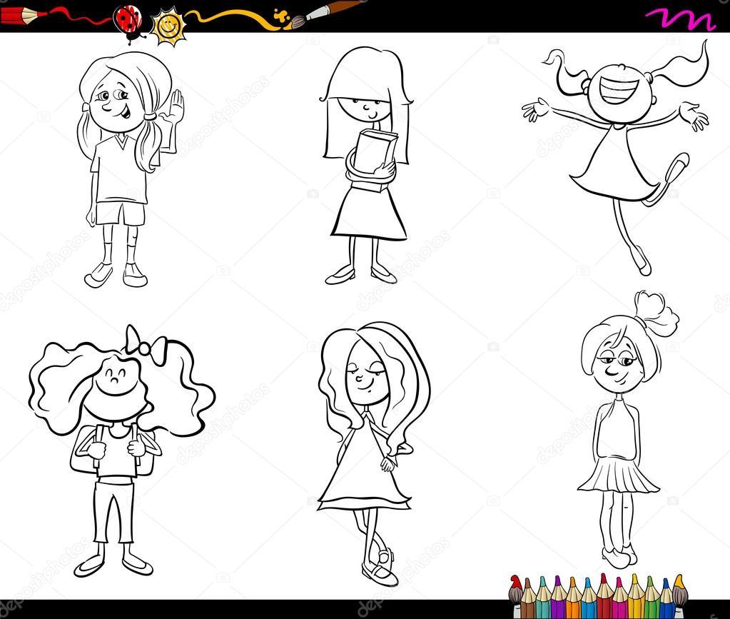 niños niñas juego libro para colorear — Archivo Imágenes Vectoriales ...