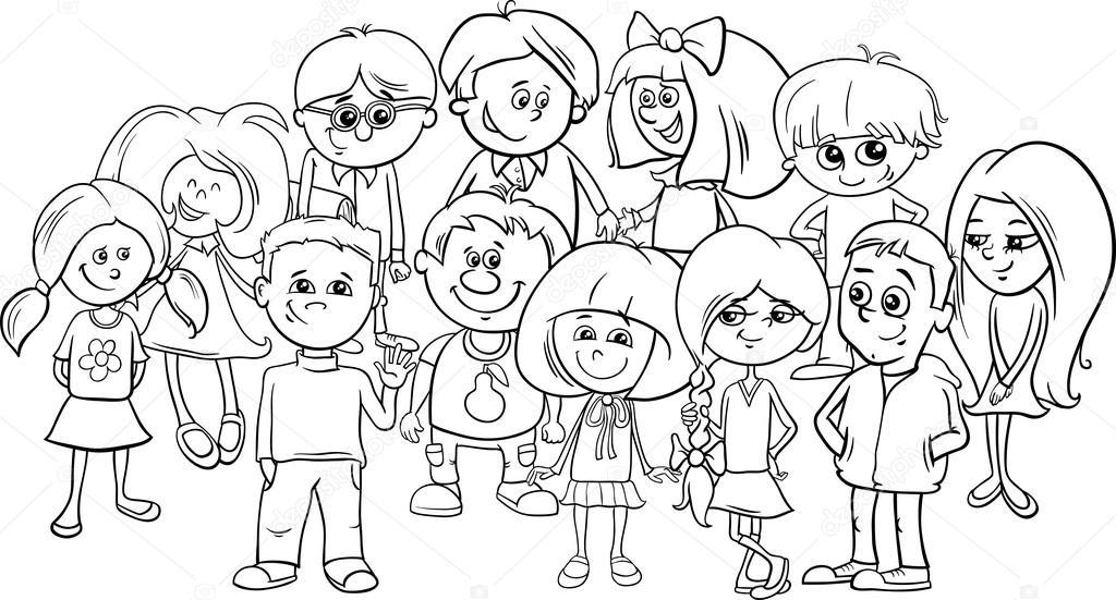 Imágenes: la escuela animada para colorear | niños de la escuela ...