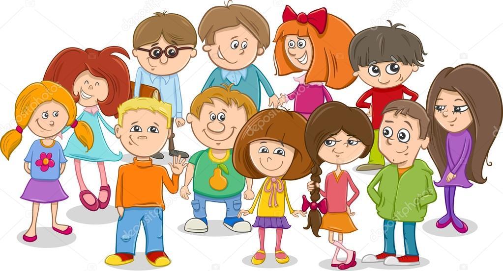 Caricatura De Grupo De Niños De Escuela