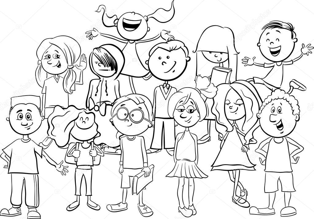 los niños o adolescentes página para colorear — Vector de stock ...
