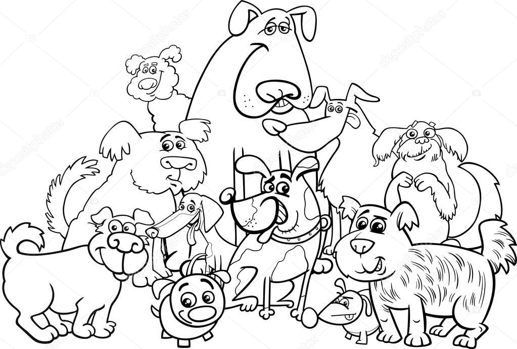 personajes de perro para colorear página — Archivo Imágenes ...