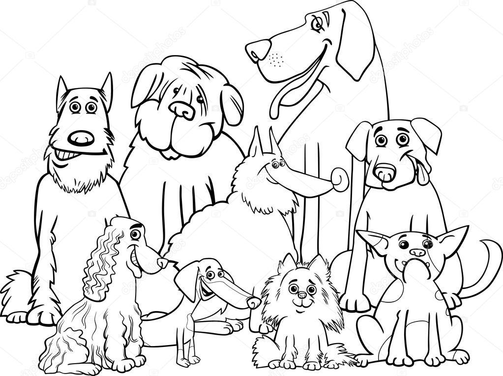 perros pura raza página para colorear — Vector de stock © izakowski ...