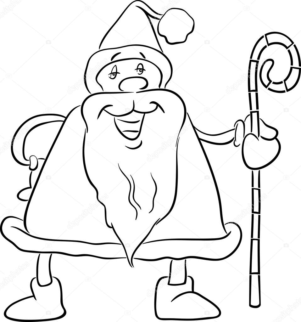 black and white cartoon illustration of santa claus with cane on christmas time for coloring book vector by izakowski - Coloring Book Santa