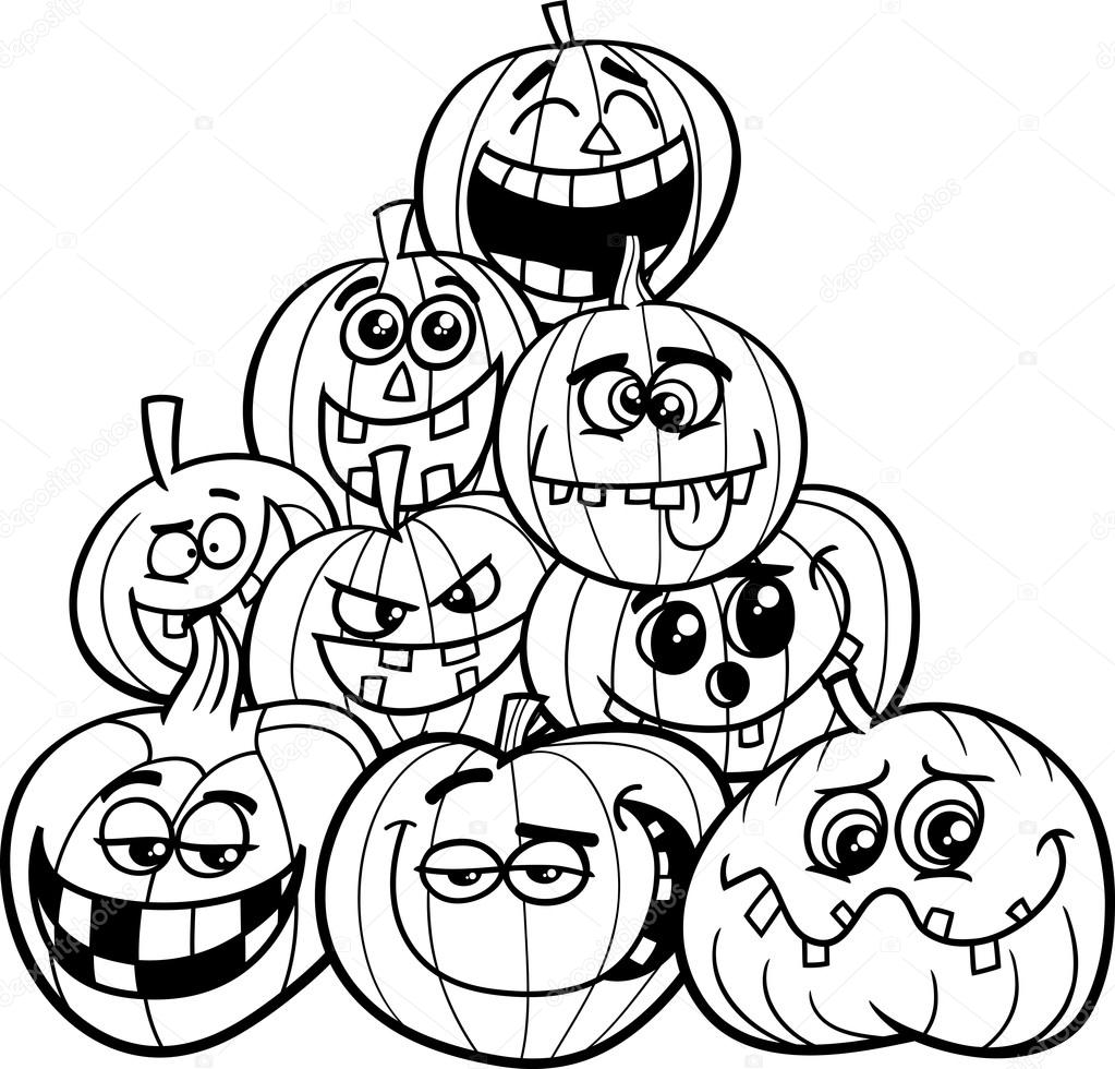 black and white cartoon illustration of halloween pumpkins or jack lanterns group in the heap coloring book vector by izakowski