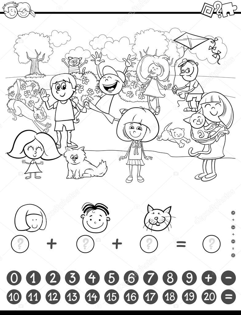 Libro De Colorear De Actividades De Matemáticas Archivo Imágenes