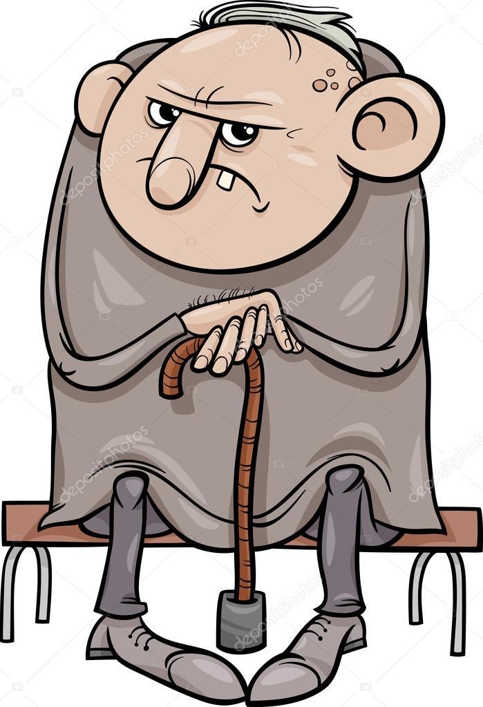 Huysuz Yaşlı Adam Karikatür çizimi Stok Vektör Izakowski 51929509