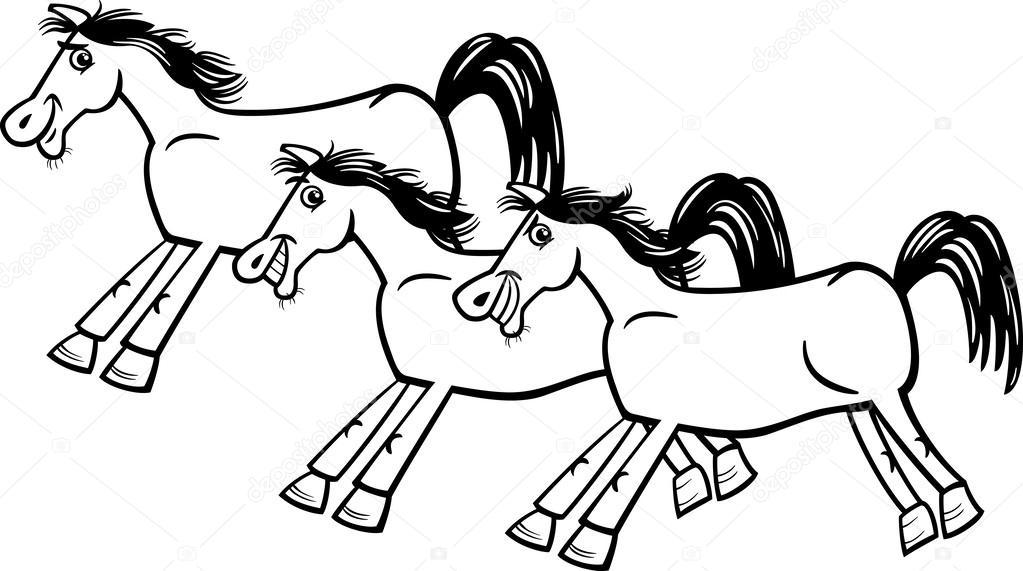 Kleurplaten Paarden In Galop.Paarden Of Mustangs Kleurplaten Pagina Stockvector C Izakowski
