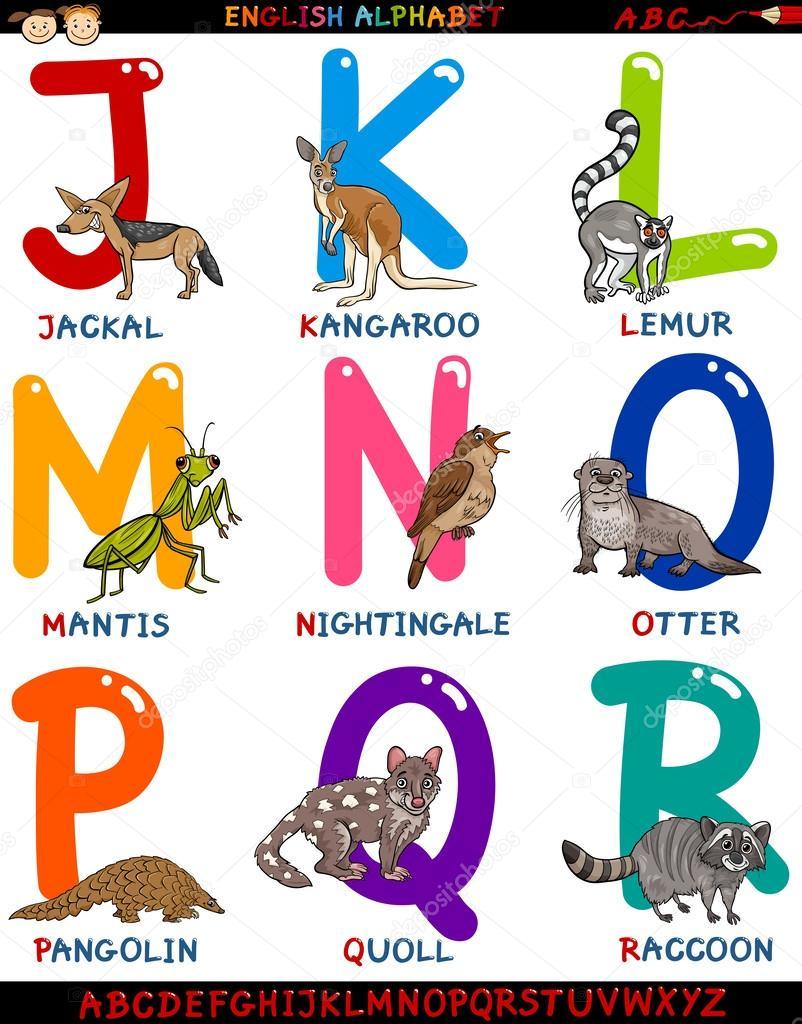 Alfabeto inglese del cartone animato con animali