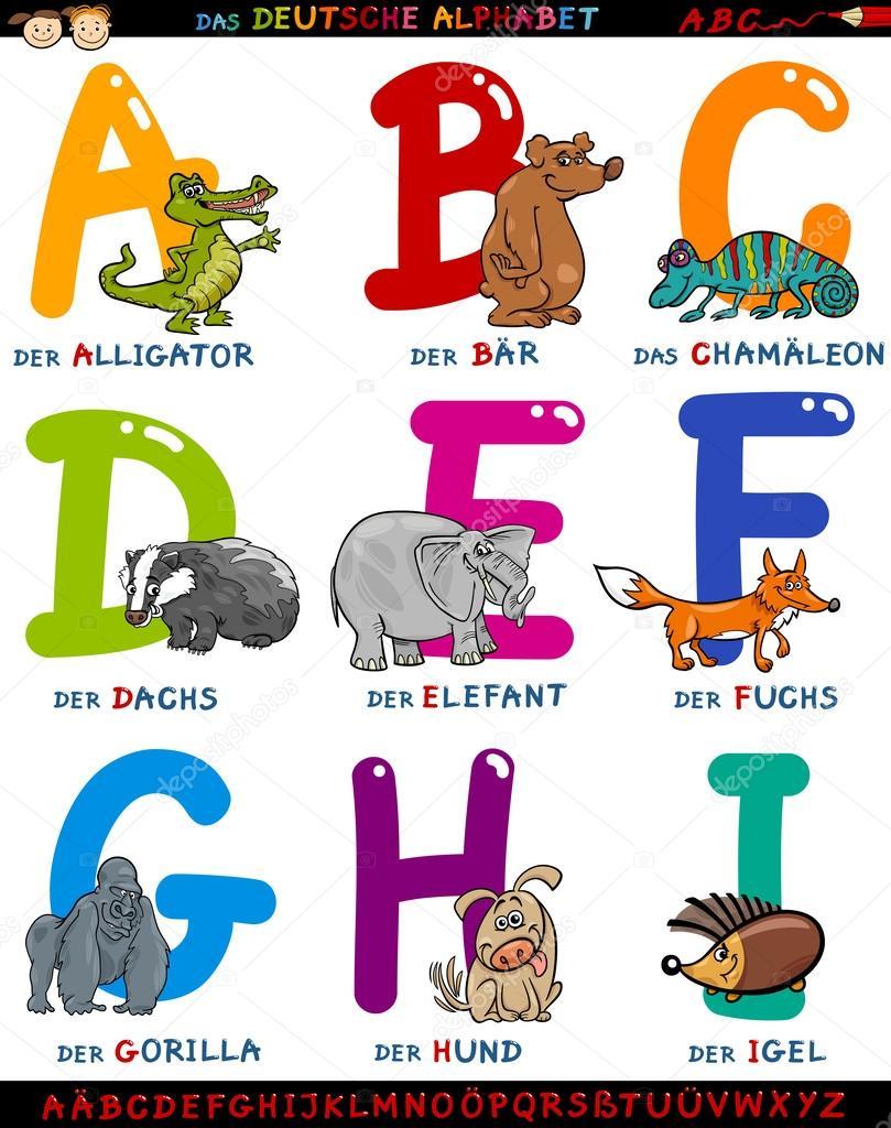 Alfabeto tedesco del cartone animato con animali
