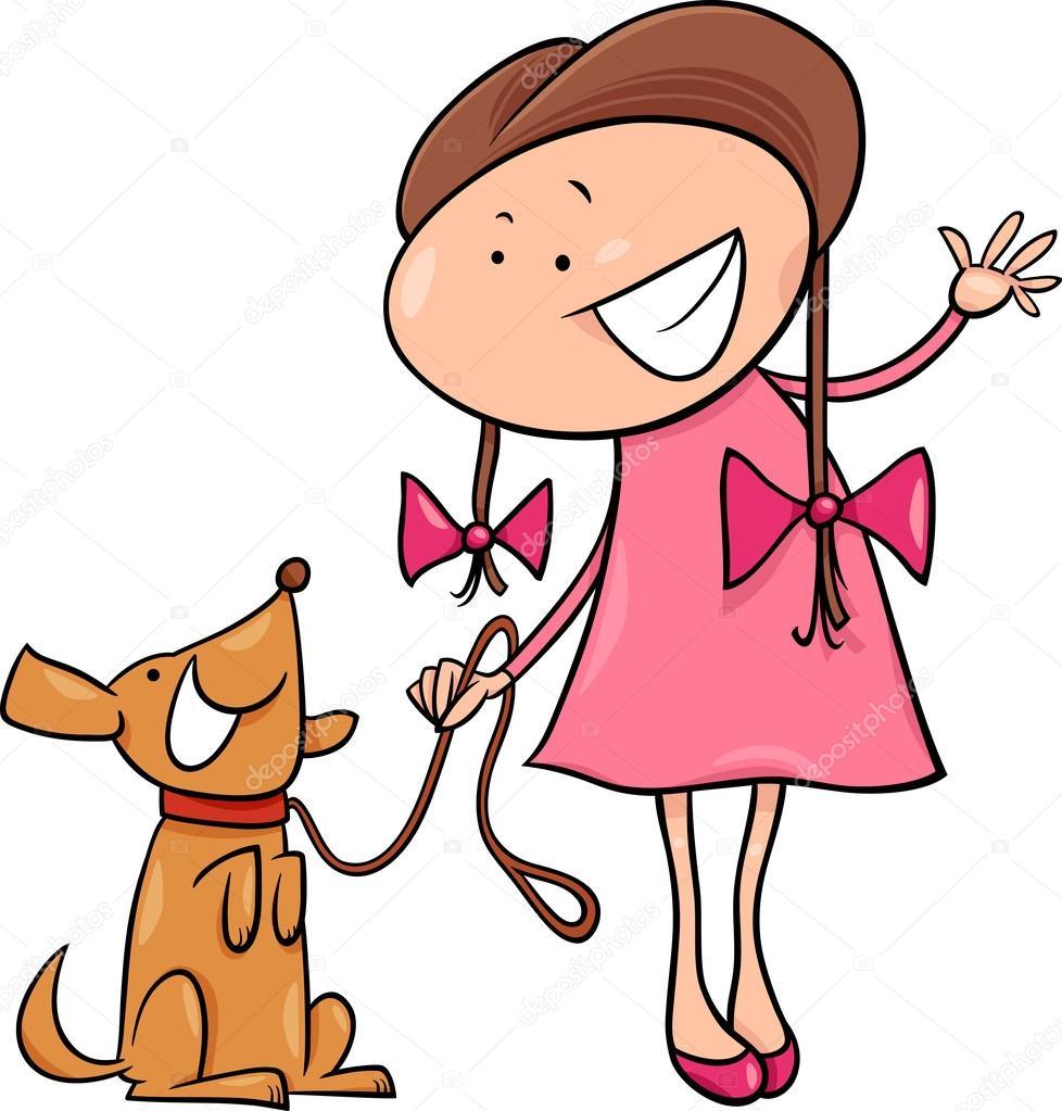 Jolie Fille Avec Illustration De Dessin Animé Chien Image