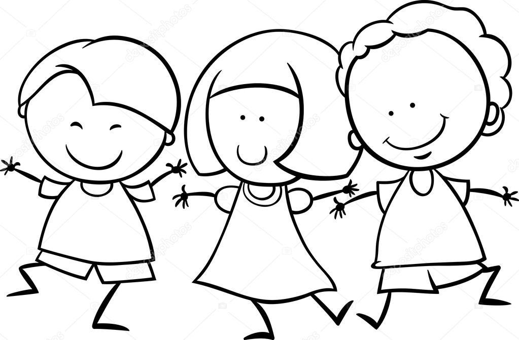 niños multiculturales Página para colorear — Archivo Imágenes ...