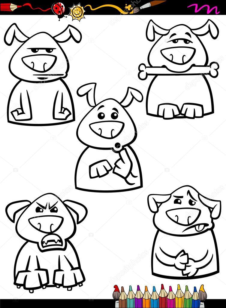 Hund Emotion set Cartoon Färbung Seite — Stockvektor © izakowski ...