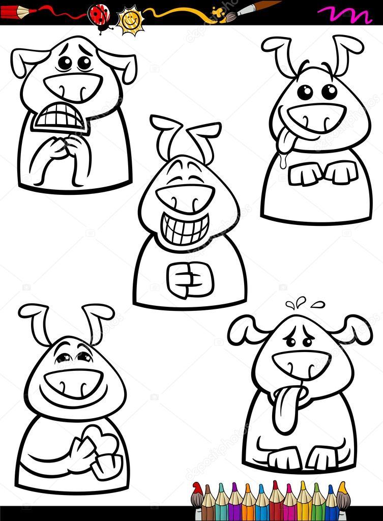 emoción perro set libro para colorear de dibujos animados — Vector ...