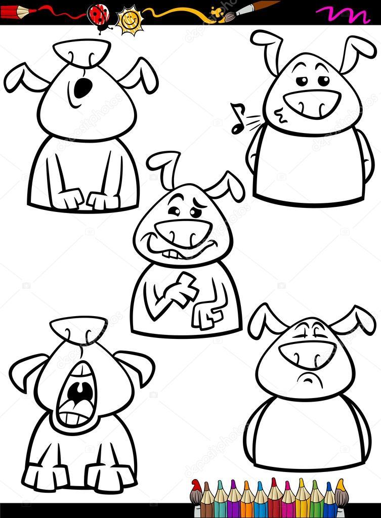 emoción perro Configurar página para colorear de dibujos animados ...