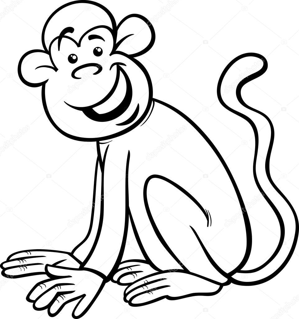 de coloriage de dessin animé drôle de singe u2014 image vectorielle