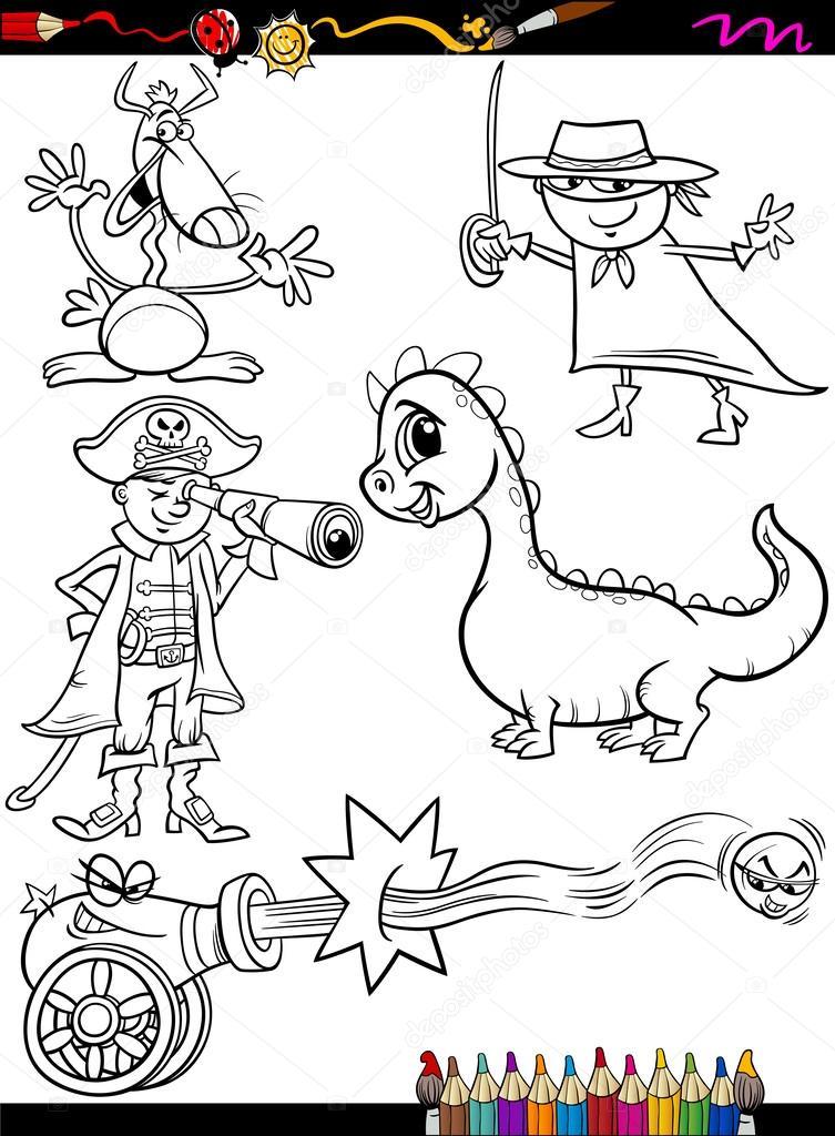 Fantasy set Cartoon Färbung Seite — Stockvektor © izakowski #53066483
