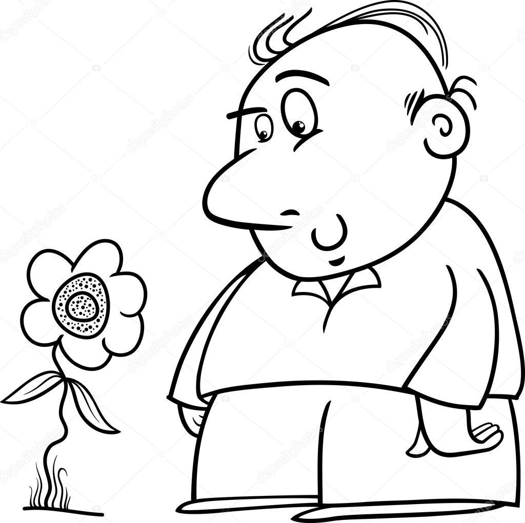 Adam Ile Ayçiçeği Boyama Sayfası Stok Vektör Izakowski 53461867