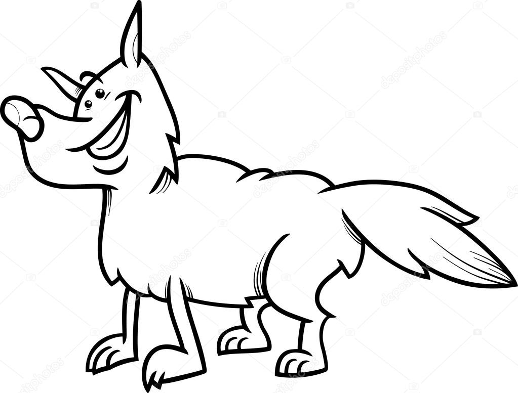 libro de colorear de animales de dibujos animados de lobo — Vector ...