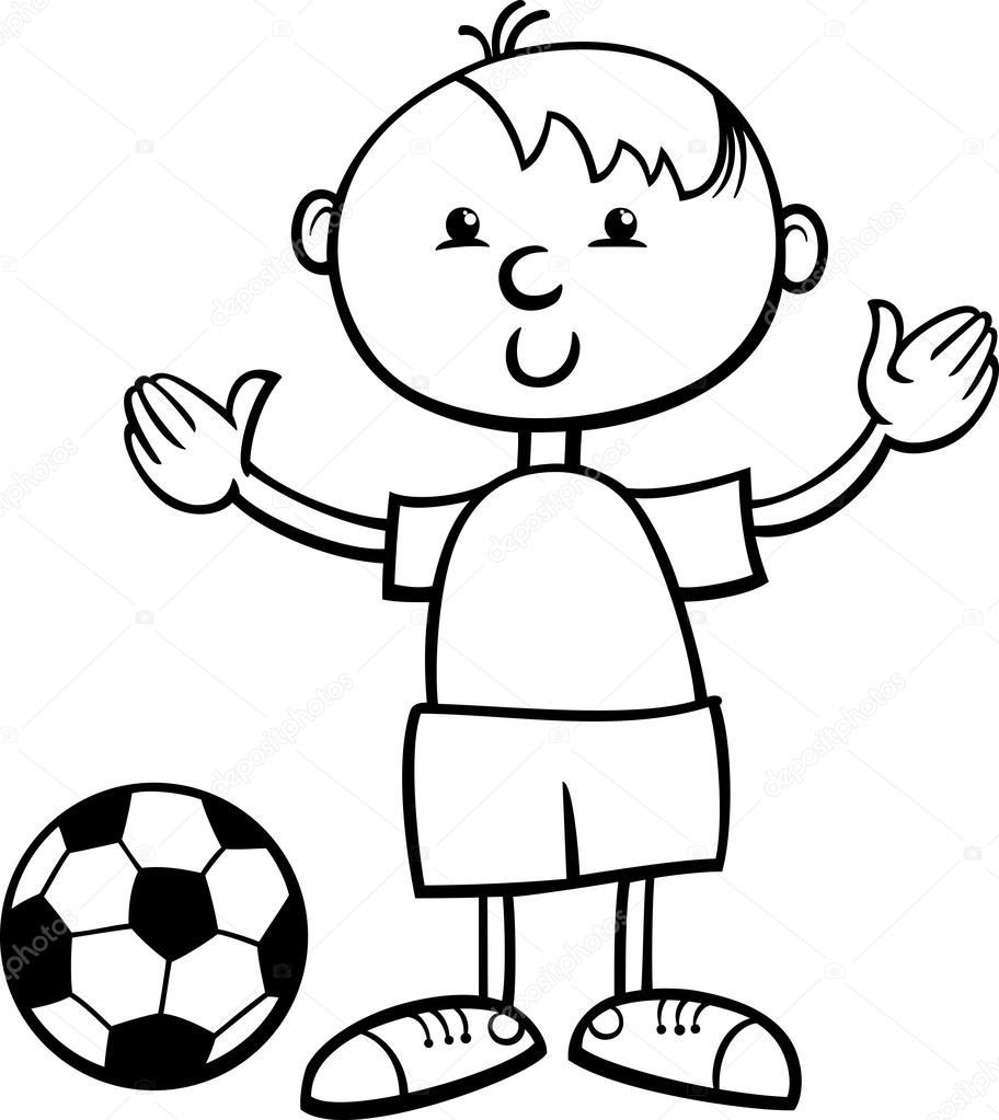 boy with ball cartoon coloring page u2014 stock vector izakowski