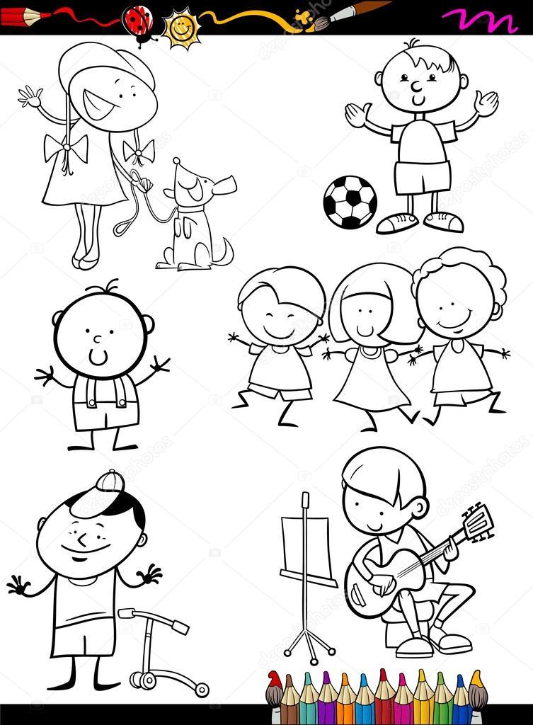los niños Configurar página para colorear de dibujos animados ...