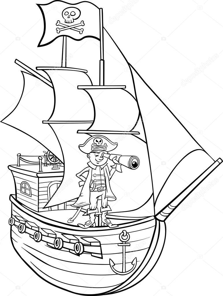 en página para colorear de dibujos animados de barco pirata — Vector ...