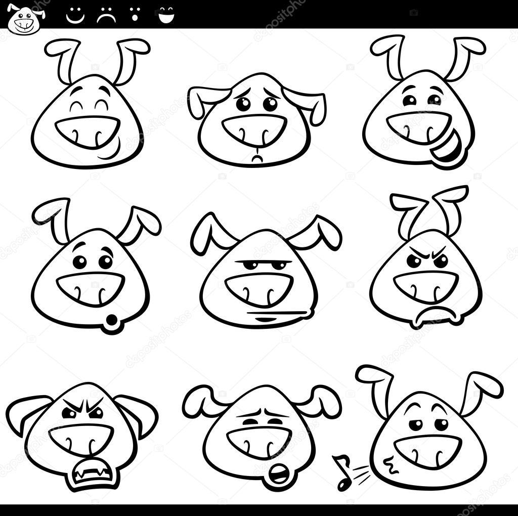 émoticônes De Chien Dessin Animé Coloriage Image