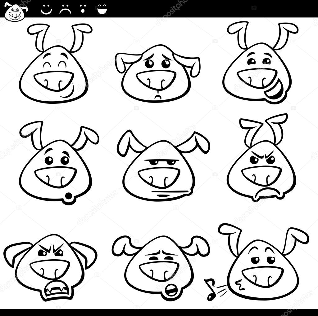 Kleurplaten Emoties.Hond Emoticons Cartoon Kleurplaat Stockvector C Izakowski 53948135