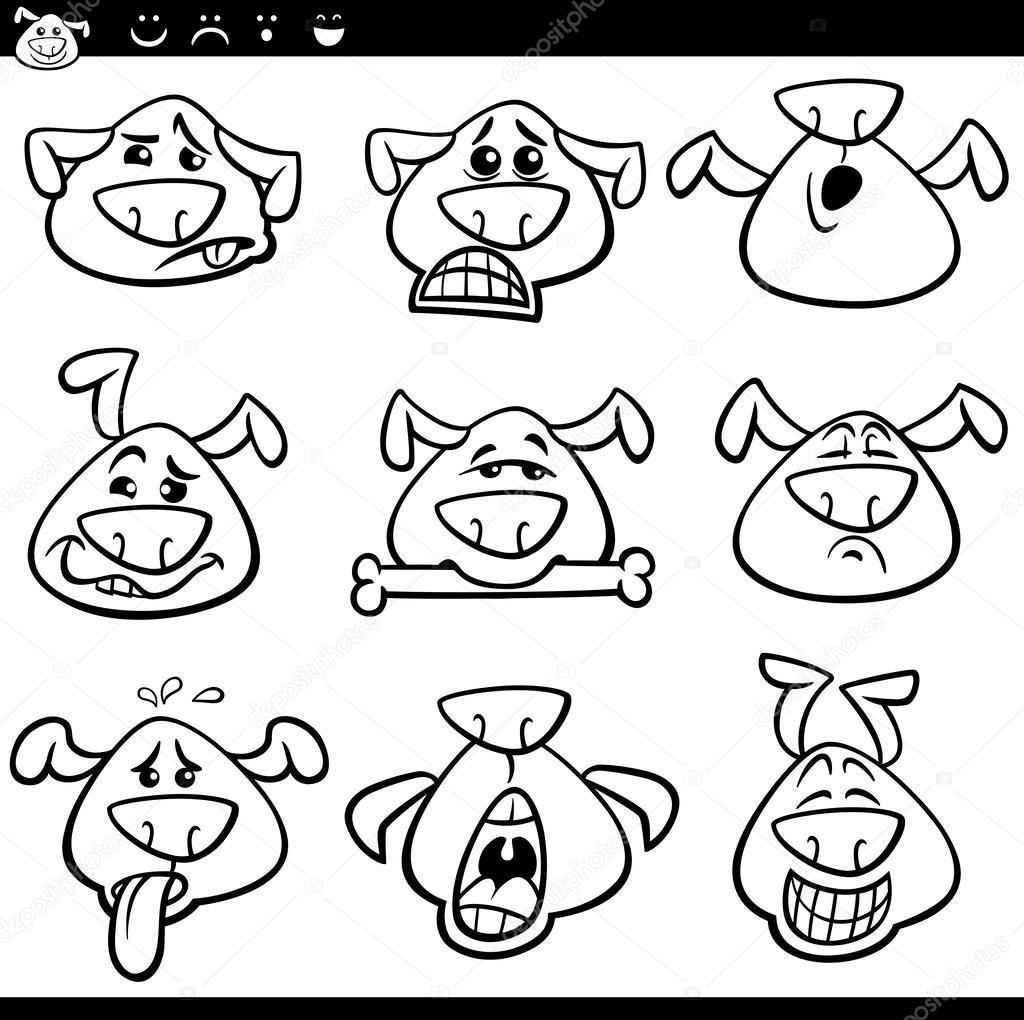 hond emoticons kleurplaat stockvector