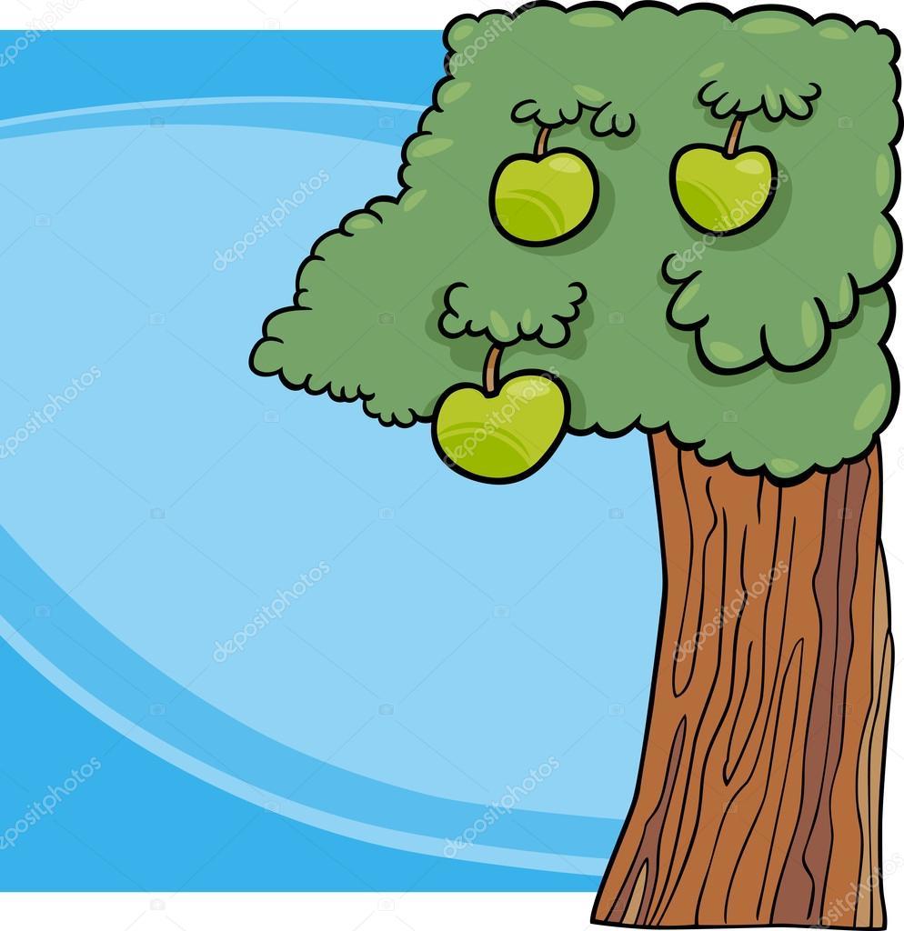 Ilustración de dibujos animados de árbol de manzana — Archivo ...