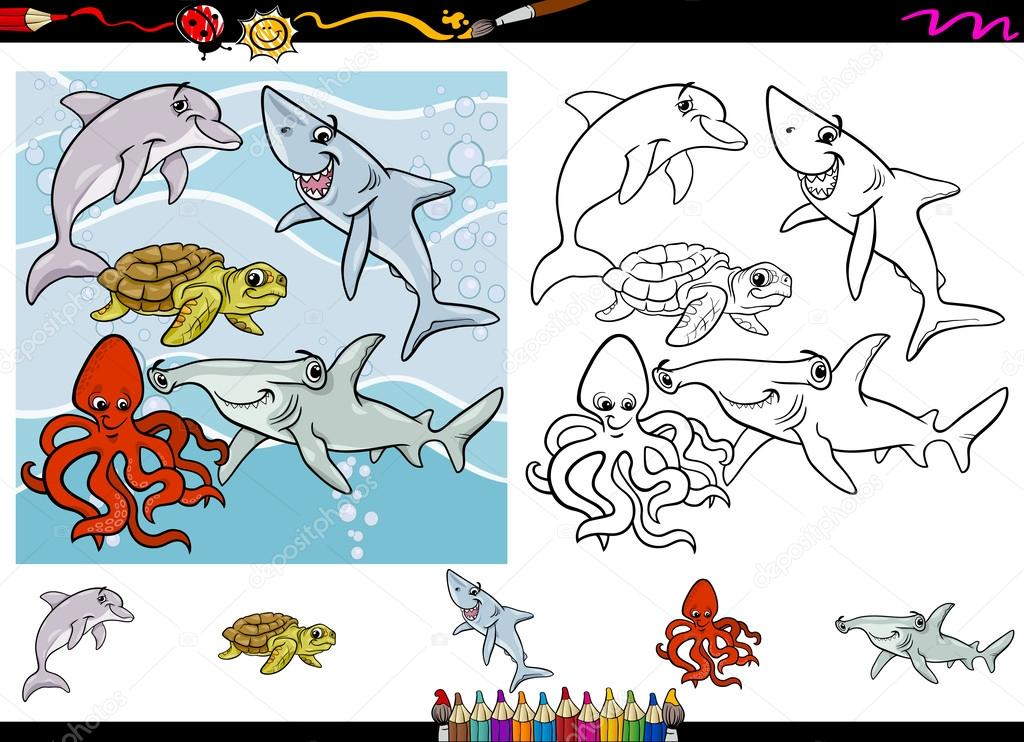 Configurar página para colorear de la historieta de la vida de mar ...