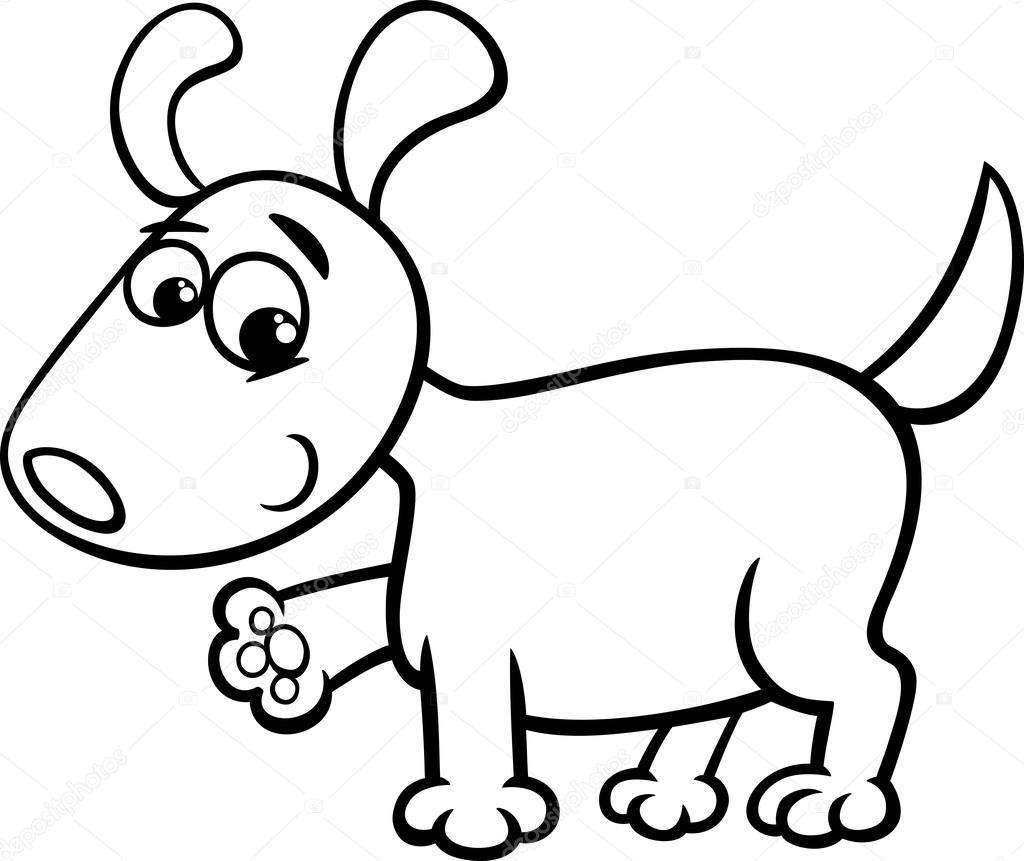 Página para colorear de perro cachorro dibujos animados — Vector de ...
