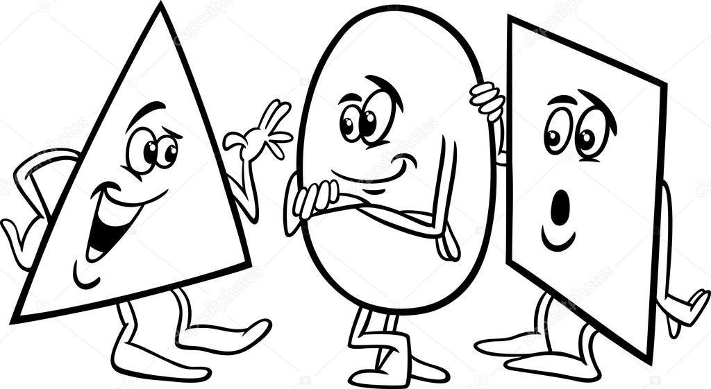 stock illustration basic shapes cartoon coloring page
