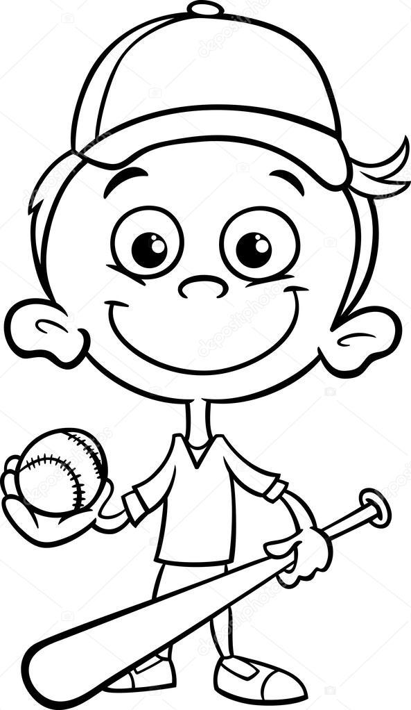 Página para colorear de niño baseball player — Vector de stock ...