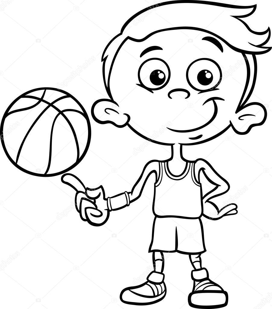 Page De Coloriage Garçon Basket Ball Joueur Image