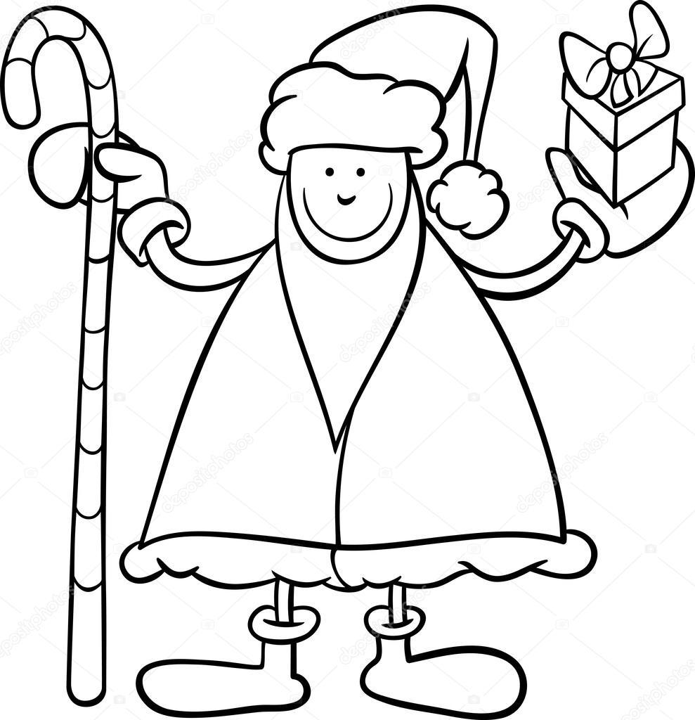 Página para colorear de Santa claus de dibujos animados — Archivo ...